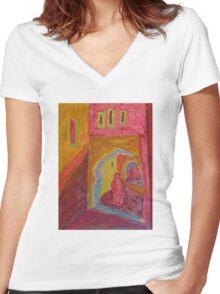 Atlas Travel Desert Caravan 2 village t shirt Women's Fitted V-Neck T-Shirt