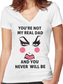 Lil' Pound Cake - You're not my real dad and you never will be Women's Fitted V-Neck T-Shirt