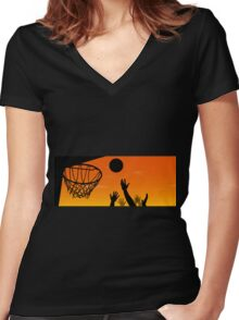 Above the Rim Women's Fitted V-Neck T-Shirt