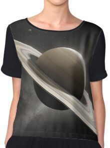 Planet Saturn with major moons Chiffon Top