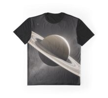 Planet Saturn with major moons Graphic T-Shirt
