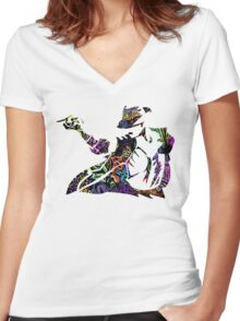 Michael Jackson -  Psychedelic Women's Fitted V-Neck T-Shirt