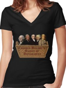 Crooked Hillary Basket Of Deplorables  Women's Fitted V-Neck T-Shirt