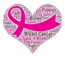 Breast Cancer Word Cloud Photographic Print