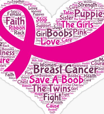 Breast Cancer Word Cloud Sticker
