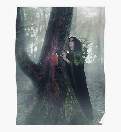 Woman druid listening to heartbeat of the tree art photo print Poster