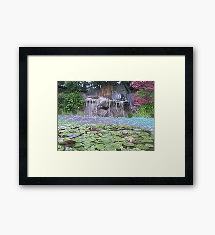Zen Waterfall - Oil Paint Framed Print