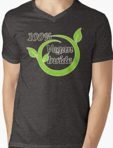 100% Vegan Inside Mens V-Neck T-Shirt