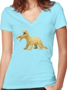 2-headed Vintage 80s Dragon Women's Fitted V-Neck T-Shirt