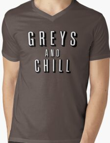 GREY'S AND CHILL - GREY'S ANATOMY Mens V-Neck T-Shirt