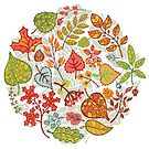 Circle composition with Autumn leaves,branches,berries by Tatiakost