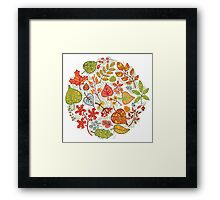 Circle composition with Autumn leaves,branches,berries Framed Print