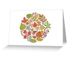 Circle composition with Autumn leaves,branches,berries Greeting Card