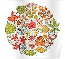 Circle composition with Autumn leaves,branches,berries Poster