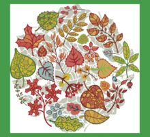 Circle composition with Autumn leaves,branches,berries Baby Tee