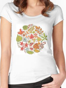 Circle composition with Autumn leaves,branches,berries Women's Fitted Scoop T-Shirt