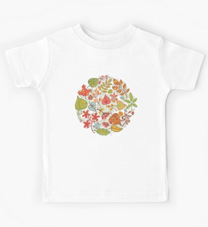 Circle composition with Autumn leaves,branches,berries Kids Tee