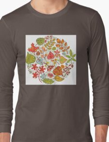 Circle composition with Autumn leaves,branches,berries Long Sleeve T-Shirt