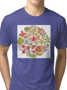 Circle composition with Autumn leaves,branches,berries Tri-blend T-Shirt