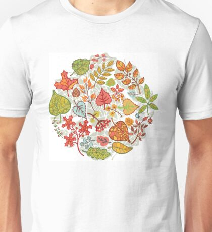 Circle composition with Autumn leaves,branches,berries Unisex T-Shirt