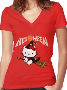 Kitty_Helloween Women's Fitted V-Neck T-Shirt