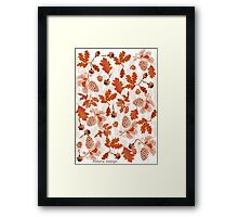 A pattern of acorn,pine cone & Leaves (695  Views) Framed Print