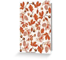 A pattern of acorn,pine cone & Leaves (695  Views) Greeting Card