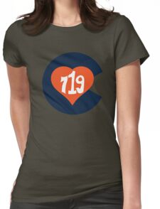 Hand Drawn Colorado Heart Flag 719 Area Code Broncos Womens Fitted T-Shirt