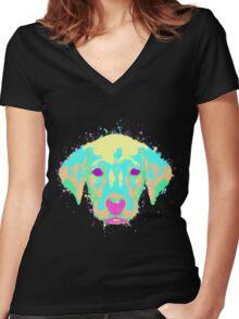 Labrador Puppy Pastel Splatter Women's Fitted V-Neck T-Shirt