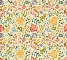 Decorative Autumn leaves seamless pattern  by Tatiakost
