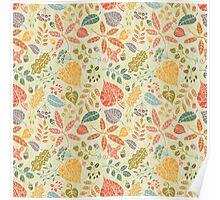 Decorative Autumn leaves seamless pattern  Poster