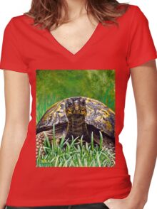 """Smile!"" Eastern Box Turtle painting Women's Fitted V-Neck T-Shirt"