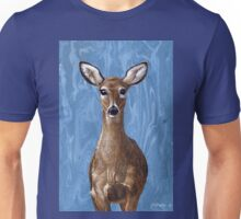 Deer Fawn on Blue, marbled painting Unisex T-Shirt