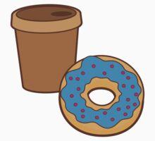 take away coffee cup and a donut (Doughnut) Kids Tee