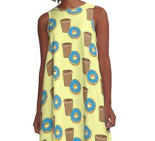take away coffee cup and a donut (Doughnut) A-Line Dress