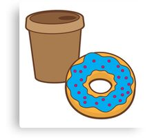 take away coffee cup and a donut (Doughnut) Canvas Print