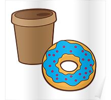 take away coffee cup and a donut (Doughnut) Poster