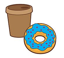 take away coffee cup and a donut (Doughnut) Photographic Print