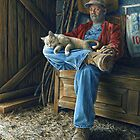 Farmer and his Cat, painting by CaraBevan