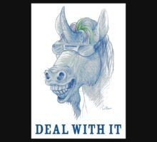 DEAL WITH IT! Cool Blue Unicorn Drawing Kids Tee