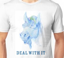 DEAL WITH IT! Cool Blue Unicorn Drawing Unisex T-Shirt