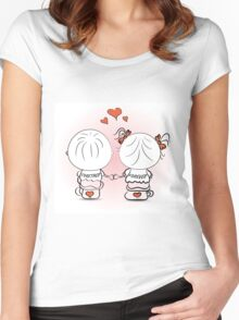 valentine's day illustration with boy and girl Women's Fitted Scoop T-Shirt