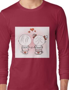 valentine's day illustration with boy and girl Long Sleeve T-Shirt