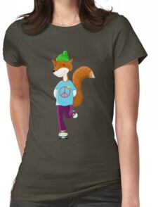 Groovy Rollerskating Fox Womens Fitted T-Shirt