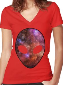 Space Alien Women's Fitted V-Neck T-Shirt