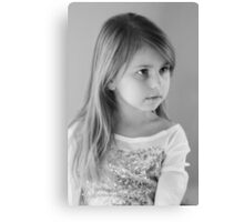 Girl Portrait in Black and White Canvas Print