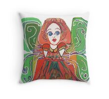 Green Winged Funky Fairy  Throw Pillow