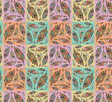 Multicolored Tribal Feathers on Four Colors by tnmgraphics