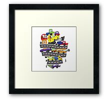 Child's hand draw cars.Funny Doodle Framed Print