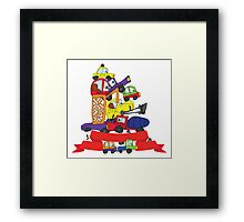 Child's hand draw cars. Funny Doodle composition Framed Print